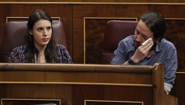 Irene Montero y Pablo Iglesias juntos en el Congreso de los Diputados