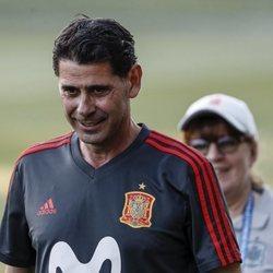 Fernando Hierro en su primer entrenamiento con la Selección Española