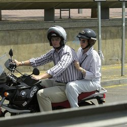 La Infanta Cristina e Iñaki Urdangarin en moto