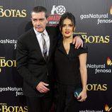 Antonio Banderas y Salma Hayek estrenan en Madrid 'El gato con botas'