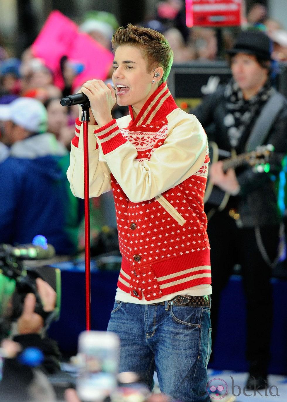 Justin Bieber, en una actuación en el centro de Nueva York