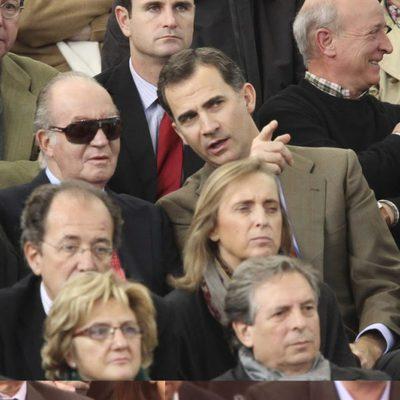 El Rey Juan Carlos junto al Príncipe Felipe en la Copa Davis