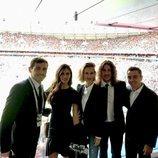 Iker Casillas, Sara Carbonero, Vanesa Lorenzo, Carles Puyol y Xavi Hernández en la inauguración del Mundial de Rusia 2018
