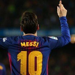 Leo Messi celebrando un gol ante el Real Madrid