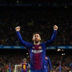 Messi celebrando un gol en un 'Clásico'