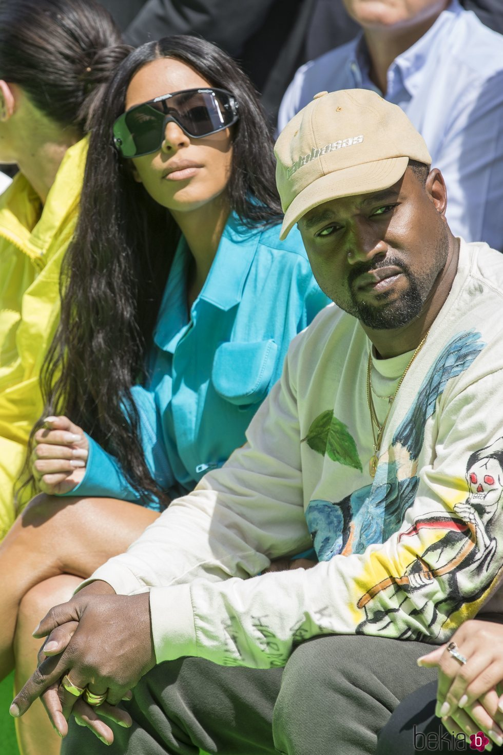 Kim Kardashian y Kanye West en el desfile de Virgil Abloh en París