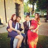 Marc y Èric Bartra junto a sus respectivas, Raquel y Melissa Jiménez, en la boda de unos amigos