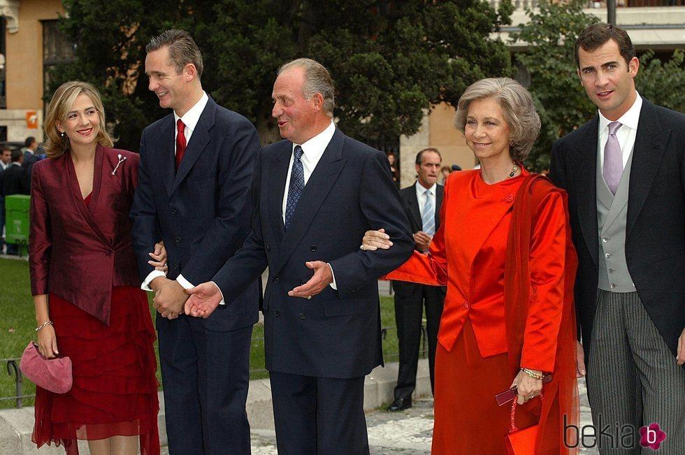 La Infanta Cristina, Iñaki Urdangarin, los Reyes Juan Carlos y Sofía y el Rey Felipe
