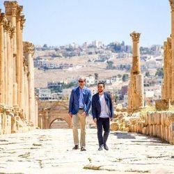 El Príncipe Guillermo durante su visita oficial a Jordania junto a Hussein de Jordania