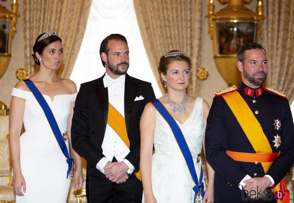 Félix y Claire de Luxemburgo y Guillermo y Estefanía de Luxemburgo en el Día Nacional de Luxemburgo 2018