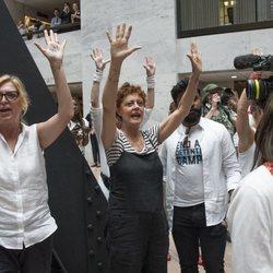 Susan Sarandon en la manifestación contra la política tolerancia cero con la inmigración de Donald Trump