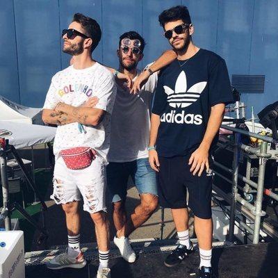 Pelayo Díaz y su novio Andy con  Nico Brocchi en el 'Dulceweekend 2018'