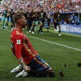 Sergio Ramos celebrando el primer gol de España frente a Rusia en el Mundial de Rusia 2018