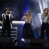 Ricky, Nerea y Mimi durante el concierto 'OT Bernabéu'