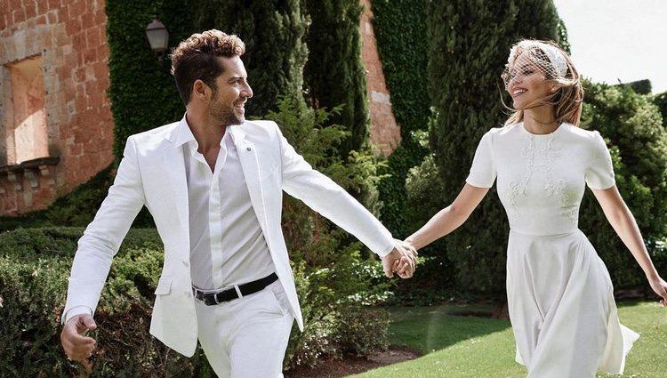 David Bisbal y Rosanna Zanetti celebrando su boda con un segundo look