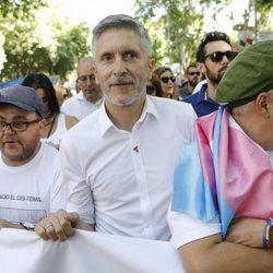 El Ministro del Interior Grande-Marlaska durante la manifestación del Orgullo 2018