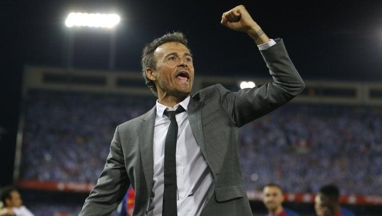 Luis Enrique celebrando un triunfo como entrenador