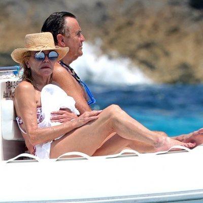 La Boronesa Thyssen y Manuel Segura disfrutando de un paseo en lancha en Ibiza