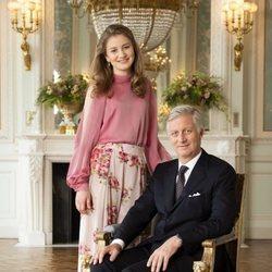 El Rey Felipe de Bélgica y su hija, la Princesa Isabel celebran  el quinto aniversario de reinado