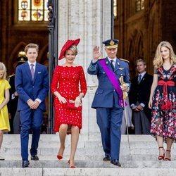 Los Reyes de Bélgica y sus hijos en la celebración del Día Nacional
