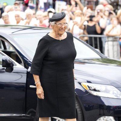 Astrid de Noruega en el funeral de Thorvald Stoltenberg