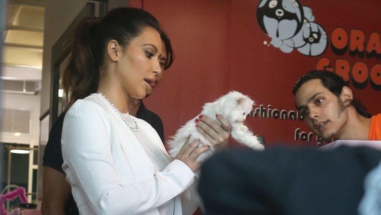 Kim Kardashian cogiendo un gato a pesar de ser alérgica