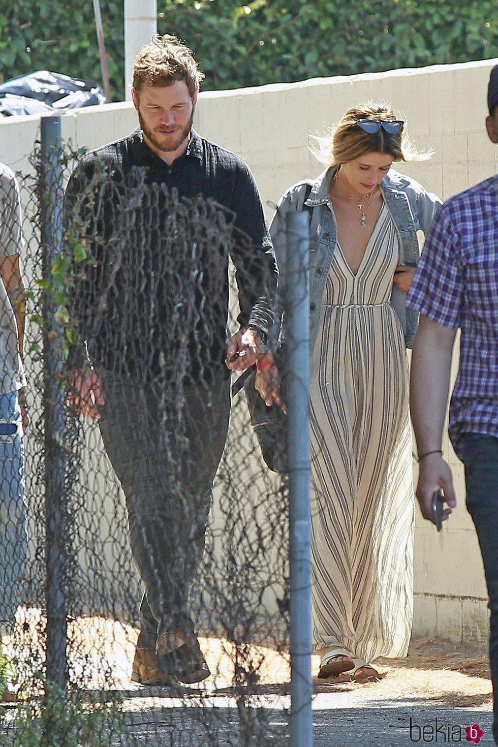 El actor Chris Pratt acudiendo a misa junto con Katherine Schwarzenegger