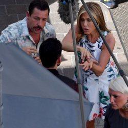 Adam Sandler y Jennifer Aniston durante el rodaje de 'Mistery Murder'