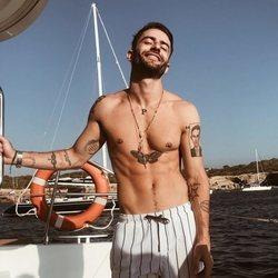 Pelayo Díaz en un yate durante sus vacaciones en Ibiza