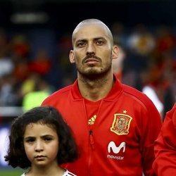 David Silva en un partido amistoso con la Selección Española