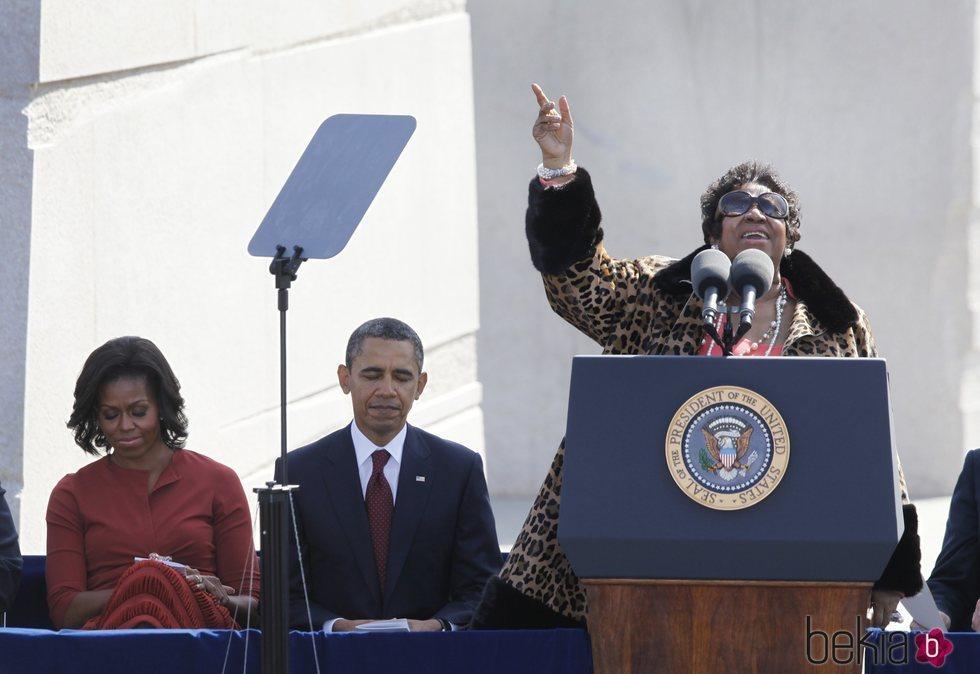 Aretha Franklin cantando en el homenaje a Martin Luther King Junior en 2011