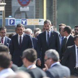El Rey Felipe, Pedro Sánchez y Ana Pastor en los actos por el primer aniversario de los atentados de Barcelona y Cambrils