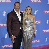 Alex Rodríguez y Jennifer Lopez en la alfombra roja de los VMAs 2018