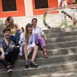Aitana, Amaia, Roi y Ana Guerra durante su visita al cásting de 'OT 2018'