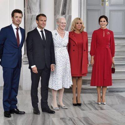 Federico de Dinamarca, Emmanuel Macron, Margarita de Dinamarca, Brigitte Macron y Mary de Dinamarca en Amalienborg