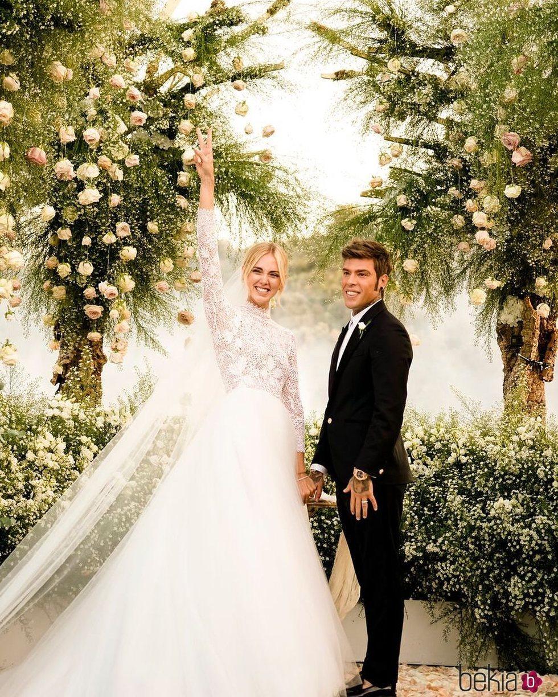 Chiara Ferragni y Fedez el día de su boda