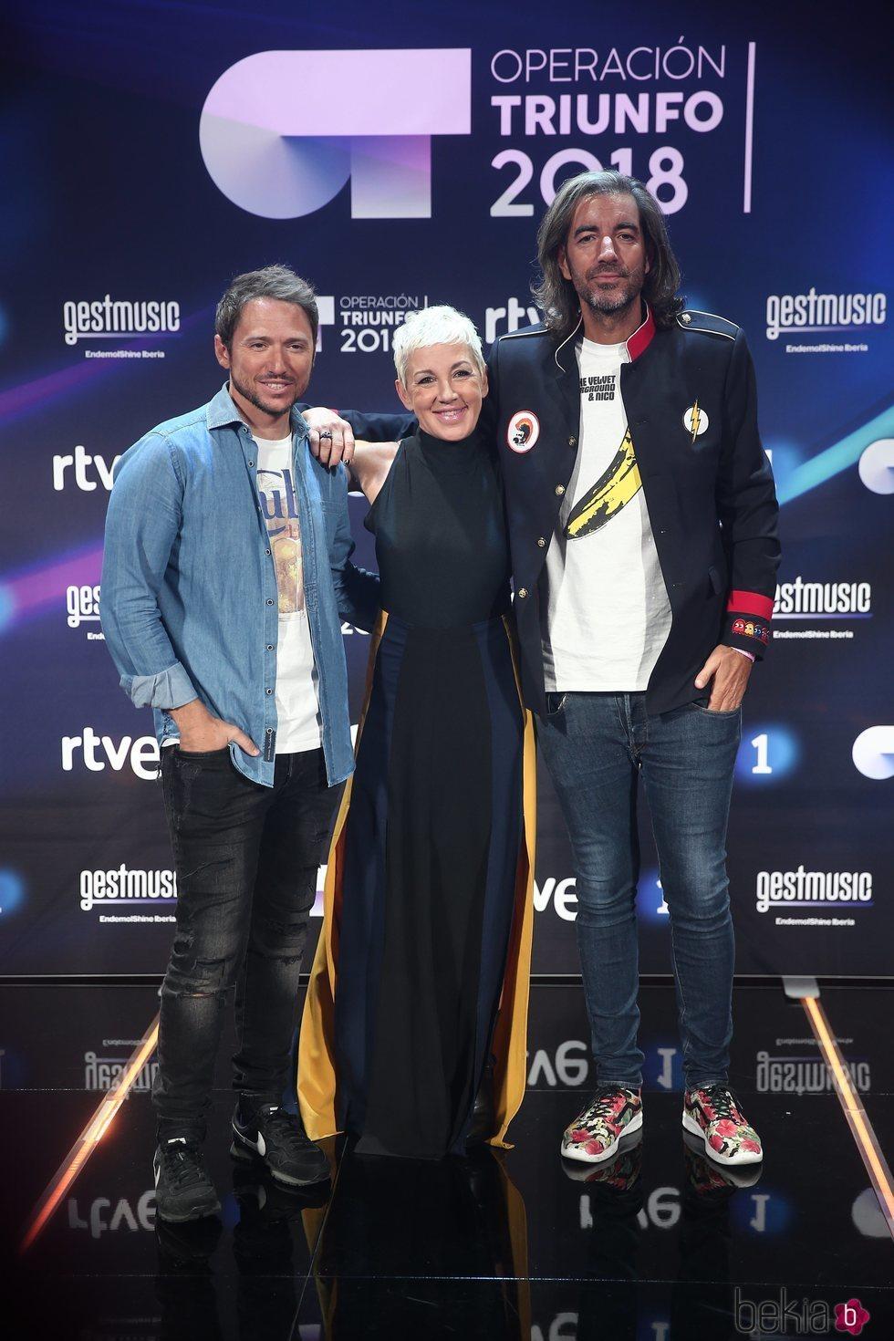 Manuel Martos, Joe Pérez-Orive y Ana Torroja en la presentación de 'OT 2018'