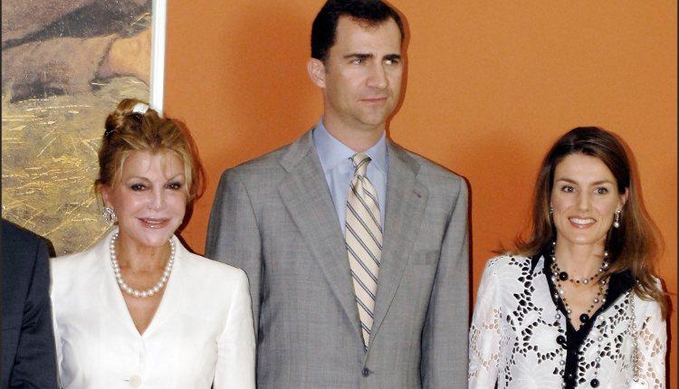 Tita Cervera y los Príncipes de Asturias en la inauguración de una exposición