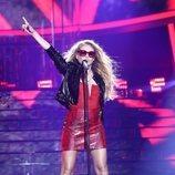 Paulina Rubio cantando en la primera gala de 'Tu cara me suena 7'