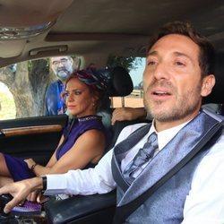 Antonio David Flores y su mujer llegando a la boda de José Ortega Cano y Ana María Aldón