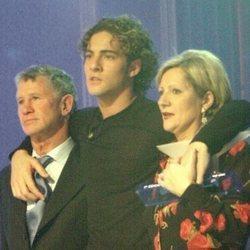 David Bisbal junto a sus padres en la final de la primera edición de 'Operación Triunfo'