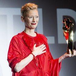 Tilda Swinton, emocionada en el Festival de Sitges 2018