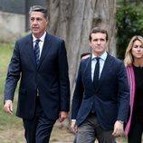 Pablo Casado y Xavier García Albiol llegando al entierro de Montserrat Caballé