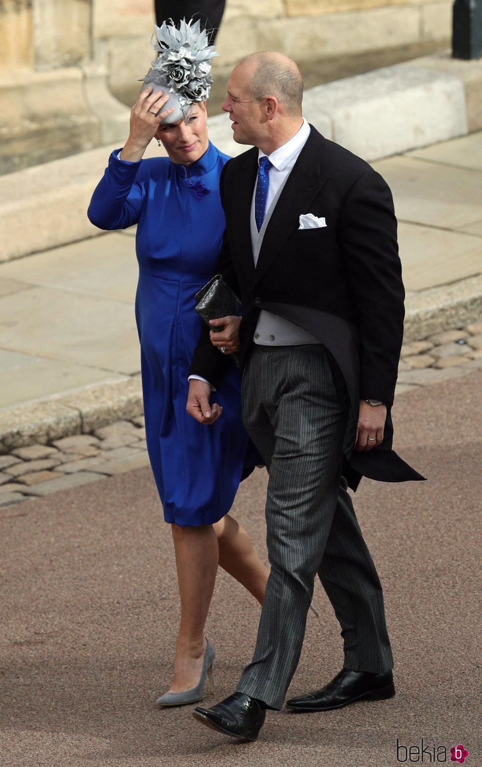 Zara Phillips y Mike Tindall en la boda de Eugenia de York y Jack Brooksbank