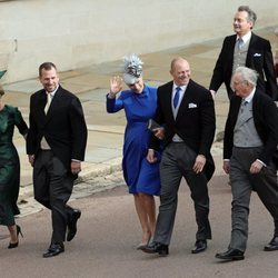 Zara Phillips y Mike Tindall, Peter Phillips y Autumn Phillips en la boda de Eugenia de York y Jack Brooksbank
