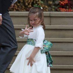 La Princesa Carlota saludando en la boda de Eugenia de York y Jack Brooksbank