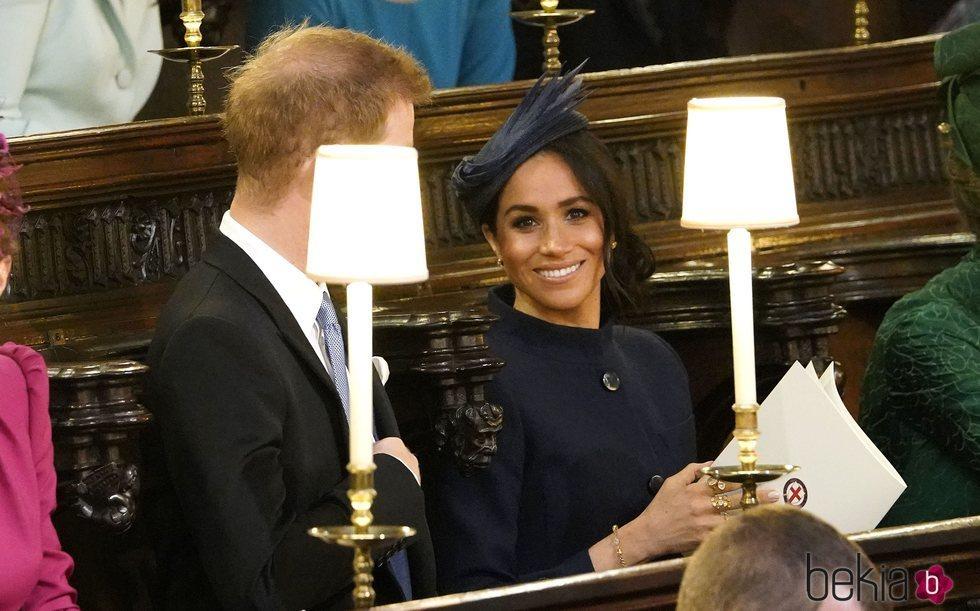 El Príncipe Harry y Meghan Markle en la boda de Eugenia de York y Jack Brooksbank