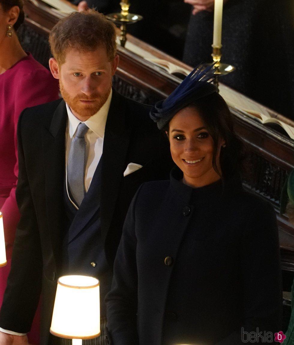 El Príncipe Harry y Meghan Markle, felices en la boda de Eugenia de York y Jack Brooksbank