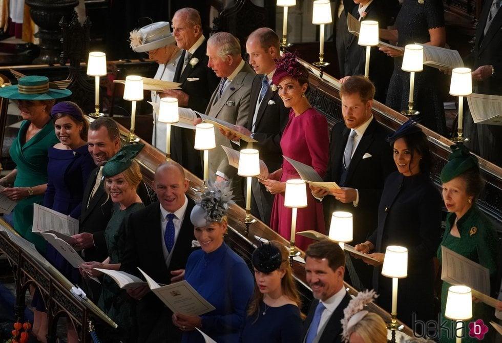 La Familia Real Británica y Pablo de Grecia en la boda de Eugenia de York y Jack Brooksbank