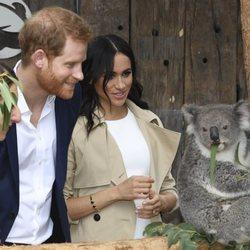 El Príncipe Harry y Meghan Markle con un koala en Sydney